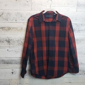 Medium Perry Ellis Blue and Red Plaid Button Down
